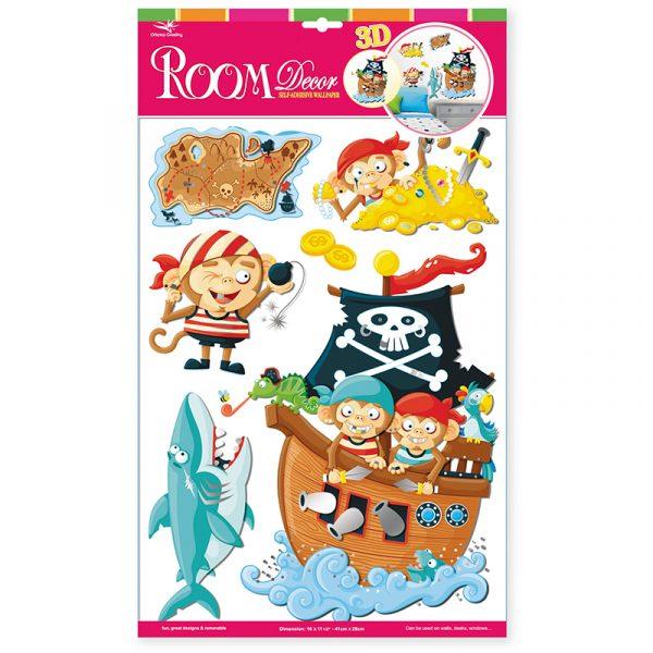 Deco sticker pirat aper. Flott til dekorasjon barnerom. Decosticker med pirater, aper hai sjørøverskip. Klistremerker pynt.