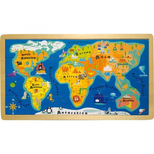 Puslespill Rammepuslespill verdenskart i tre. Trepuslespill kart.