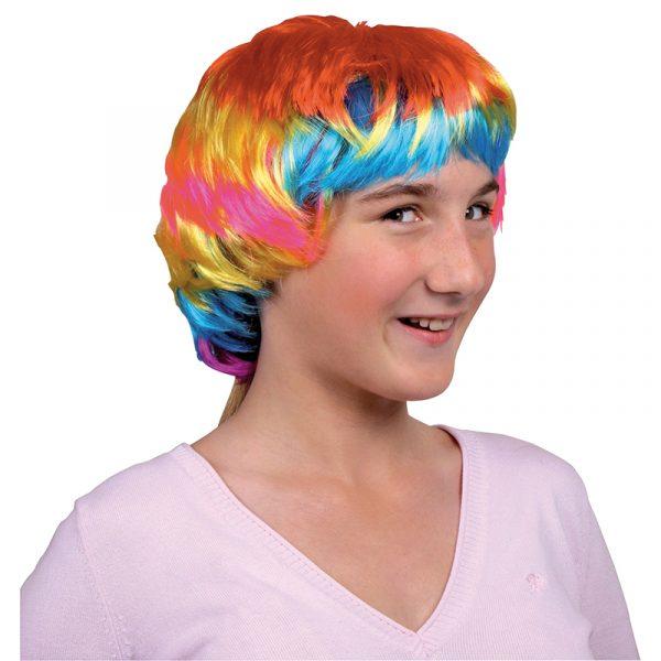 Parykk med farger Kunstig hår til Karneval, utkledning.
