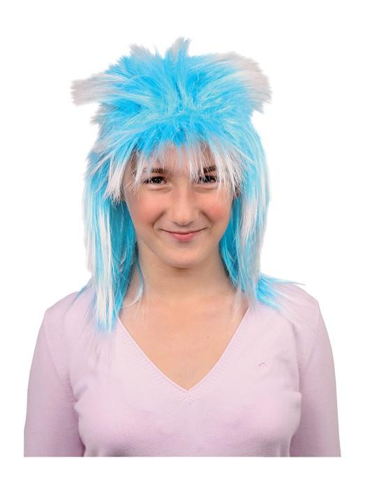 Blå parykk. Kunstig hår til Karneval, utkledning.