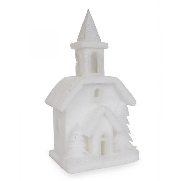 Kirke i filt og bomuld. Med LED belysning.