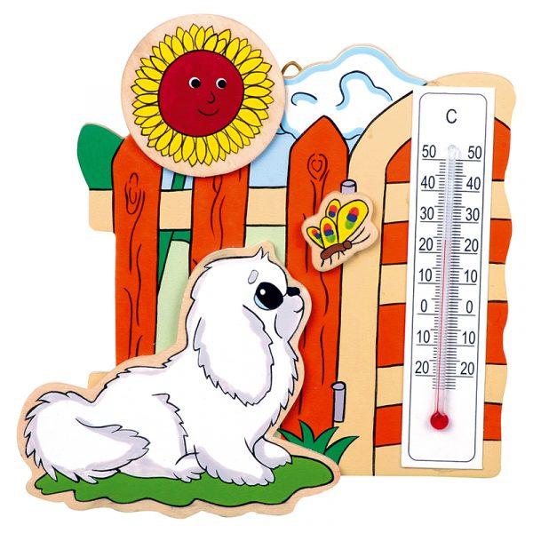 Termometer dyr, Dekorasjon til barnerommet. Solid finer. Tre stk.