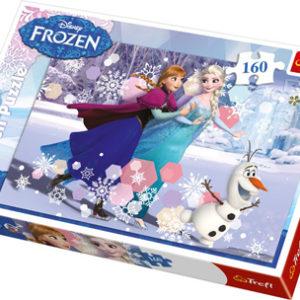 Puslespill Frost, 160 biter. Motiv med de kjente figurene fra Disney filmen Frost (Frozen).