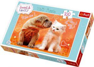Puslespill Hund kysser Katt, 100 biter