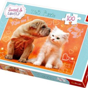 Puslespill Hund kysser Katt