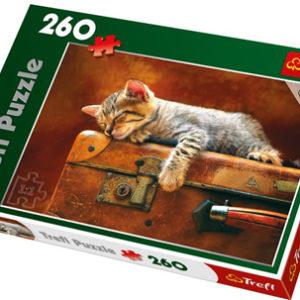 Puslespill Kattedrøm, 260 biter. Motiv med katt som sover på en koffert.