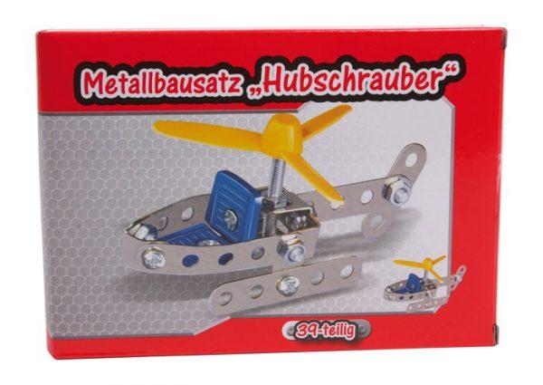 Metallbyggesett av helikopter. Konstruksjon, bygge i metall, skru sammen.