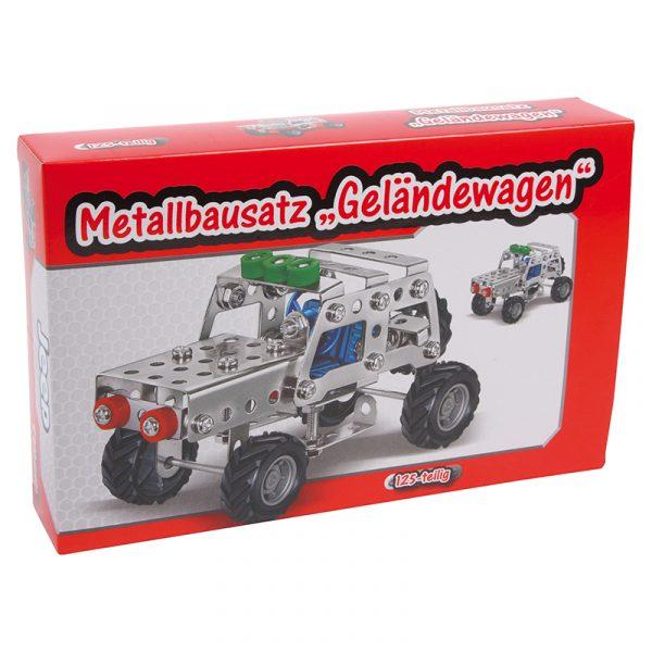 Metallbyggesett av Gelenderwagen terrengbil jeep. Konstruksjon, bygge i metall, skru sammen. Byggesett i metall.