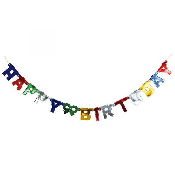 Girlander Happy Birthday. Gebursdagshilsen til å henge opp.