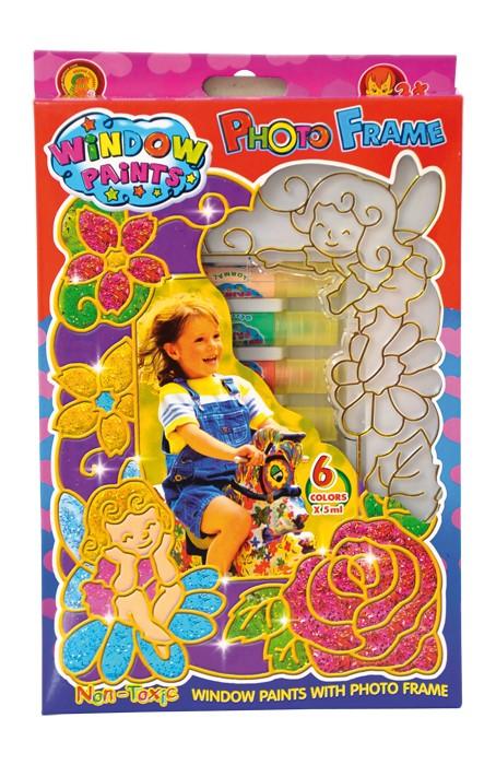 Vindusmaling, fotoramme. 6 farger som utfordrer kreativitet og kan lage fine kunstverk til vindus maling. Hobby for barn.