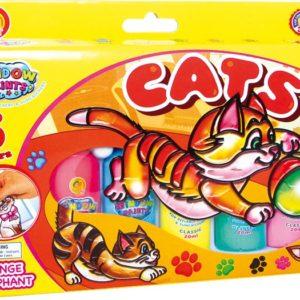 Vindusmaling, katt. 6 farger som utfordrer kreativitet og kan lage fine kunstverk til vindus maling. Hobby for barn.