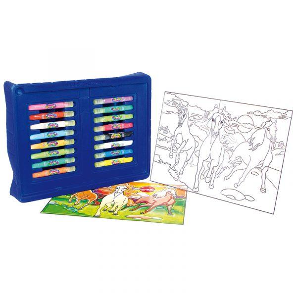 Vindusmaling, Hester. 16 farger som utfordrer kreativitet og kan lage fine kunstverk til vindus maling. Hobby for barn. Hest. Suncatcher.
