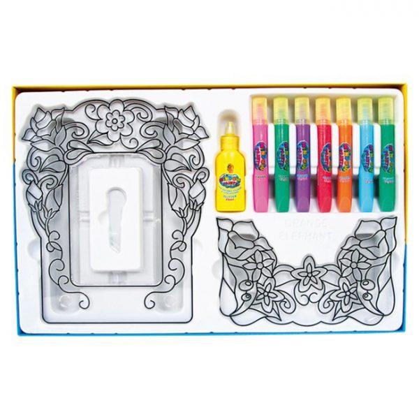 Vindusmaling, fotoramme. 8 farger som utfordrer kreativitet og kan lage fine kunstverk til vindus maling. Hobby for barn. Blomster.