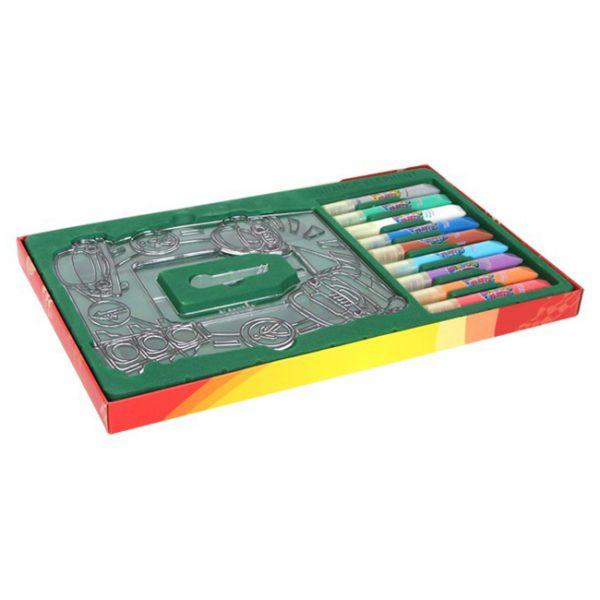 Vindusmaling, fotoramme. 9 farger som utfordrer kreativitet og kan lage fine kunstverk til vindus maling. Hobby for barn. Biler.