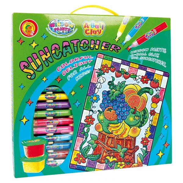 Vindusmaling, stor med frukt. 10 + 4 farger som utfordrer kreativitet og kan lage fine kunstverk til vindus maling. Hobby for barn.