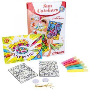 Vindusmaling. 6 farger som utfordrer kreativitet og kan lage fine kunstverk til vindus maling. Hobby for barn. Dinosaurer.