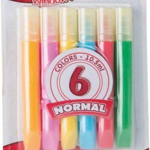 Vindusmaling. 6 farger som utfordrer kreativitet og kan lage fine kunstverk til vindus maling. Hobby for barn.