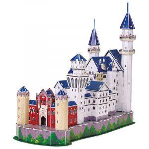3D puslespill av slott Neuschwanstein. Tredimensjonalt puslespill av Neuschwanstein i Tyskland.