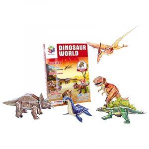3D puslespill Dinosaurenes verden. Tyrannosaurus Rex, Brontosaurus og Co