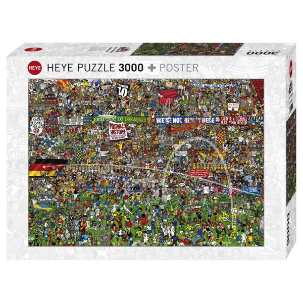 Puslespill Football History 3000 biter / brikker. Spillet inneholder også en plakat / poster av samme motiv. Motivet er et tegnet av Alex Bennet, med mange spennende detaljer. Pusslespill fra Heye Puzzle.