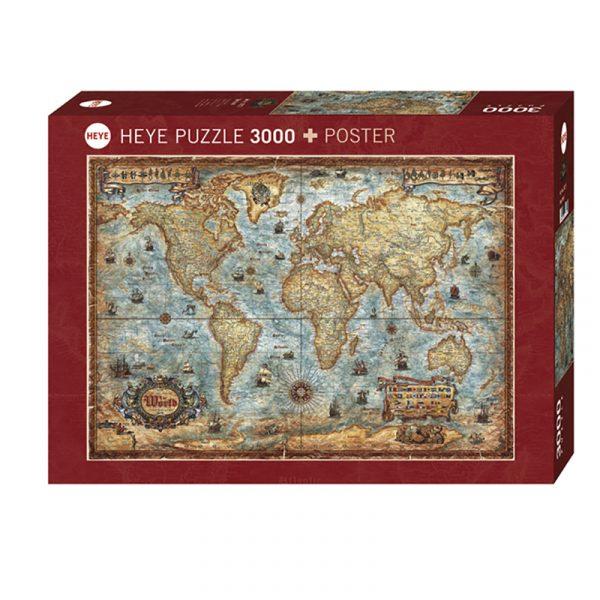 Puslespill The World 3000 biter / brikker. Spillet inneholder også en plakat / poster av samme motiv. Motivet er et antikt verdenskart med mange spennende detaljer så som gamle skuter, knuter og flagg. Pusslespill fra Heye Puzzle.