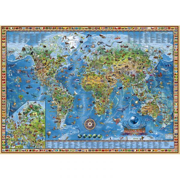 Puslespill Amazing World 3000 biter / brikker. Spillet inneholder også en plakat / poster av samme motiv. Motivet er et verdenskart med mange spennende detaljer med 600 vakkert designet og illustrerte vignetter. Pusslespill fra Heye Puzzle.