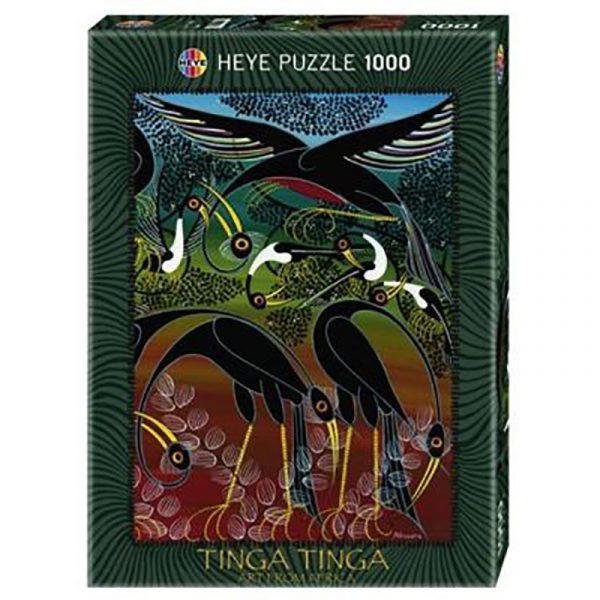 Puslespill Cranes 1000 biter / brikker. Motivet er kunst fra Afrika. Tinga Tinga Art from Africa. Tanzania kunstneren Edvard Saidi. Pusslespill fra Heye Puzzle.