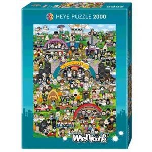 Puslespill Weenistock 2000 biter / brikker. Motivet er weeniworld, kanskje du finner og gjenkjenner figurer fra Pop kulturen. . Pusslespill fra Heye Puzzle.