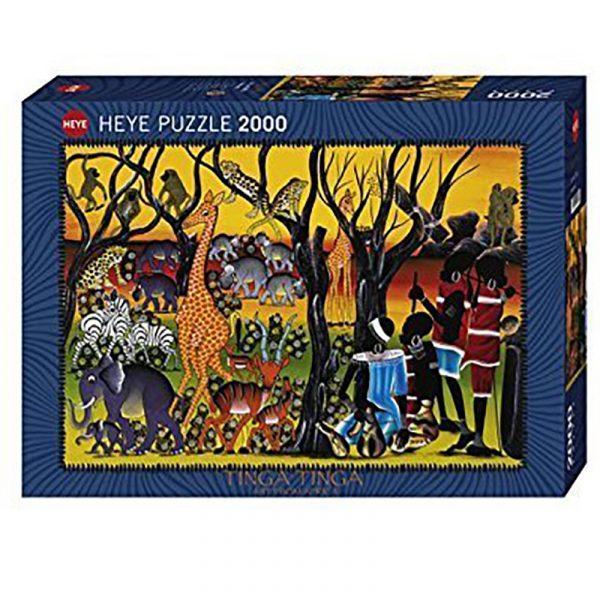 Puslespill Residents 2000 biter / brikker. Motivet er kunst fra Afrika. Tinga Tinga Art from Africa. Tanzania kunstneren Edvard Saidi. Pusslespill fra Heye Puzzle.
