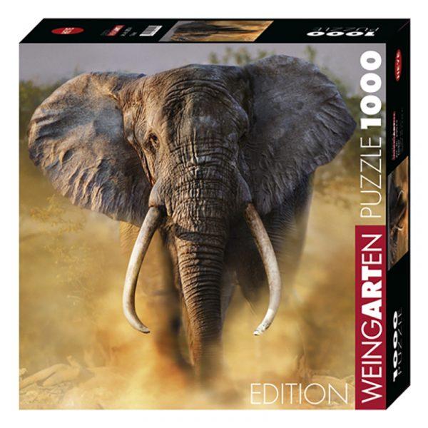 Puslespill Tusker 1000 biter / brikker. Dramatisk bilde av Elefant på savannen i Afrika. Natur. Pusslespill fra Heye Puzzle.
