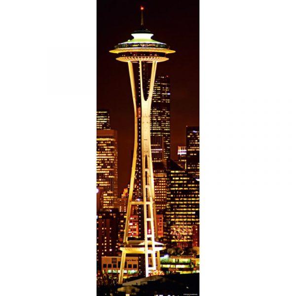Puslespill Space Needle 1000 biter / brikker. Et motiv av det kjente landemerket i Seattle, USA. Pusslespill fra Heye Puzzle. Panorama Pusle Fra Sights Puzzle collection.