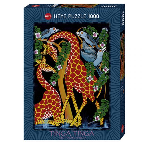 Puslespill Togetherness 1000 biter / brikker. Motivet er kunst fra Afrika. Tinga Tinga Art from Africa. Tanzania kunstneren Edvard Saidi. Pusslespill fra Heye Puzzle.