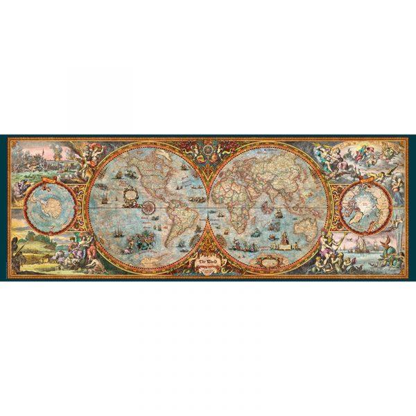 Puslespill Antikt kart 6000 biter / brikker. Spillet inneholder også en plakat / poster av samme motiv. Motivet er et verdenskart med mange spennende detaljer. Hemisphere Map. Pusslespill fra Heye Puzzle.
