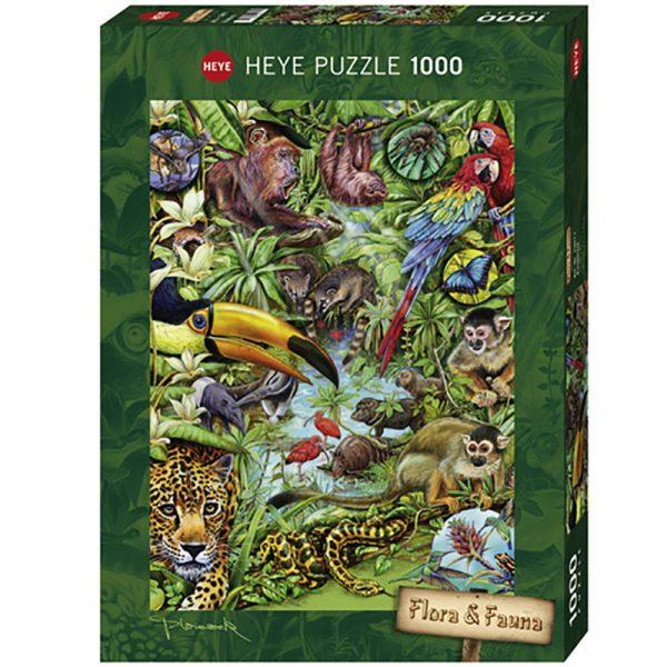 Puslespill Rainforest 1000 biter / brikker. Dyrene i regnskogen motiv med mange detaljer. Pusslespill fra Heye Puzzle.
