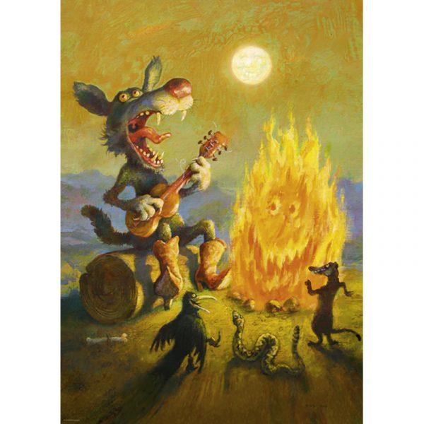 Puslespill Singing Coyote 1000 biter / brikker. Fra den Tyske kunstneren Rudi Hurzlmeier (Rudi Hu). Pusslespill fra Heye Puzzle.
