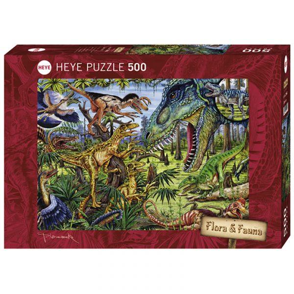 Puslespill Dinosaurer 500 biter / brikker. Carnivores. Dinosaurer, motiv med mange detaljer. Pusslespill fra Heye Puzzle. Flora & Fauna serie.
