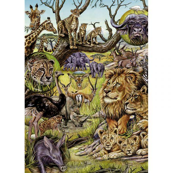 Puslespill Savannah 1000 biter / brikker. På savannen i Afrika lever noen av de mest populæfe dyreartene i verden. Pusslespill fra Heye Puzzle.