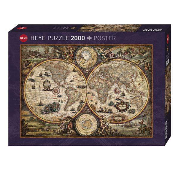 Puslespill Vintage World 2000 biter / brikker. Spillet inneholder også en plakat / poster av samme motiv. Motivet er et verdenskart med mange spennende detaljer. Pusslespill fra Heye Puzzle.