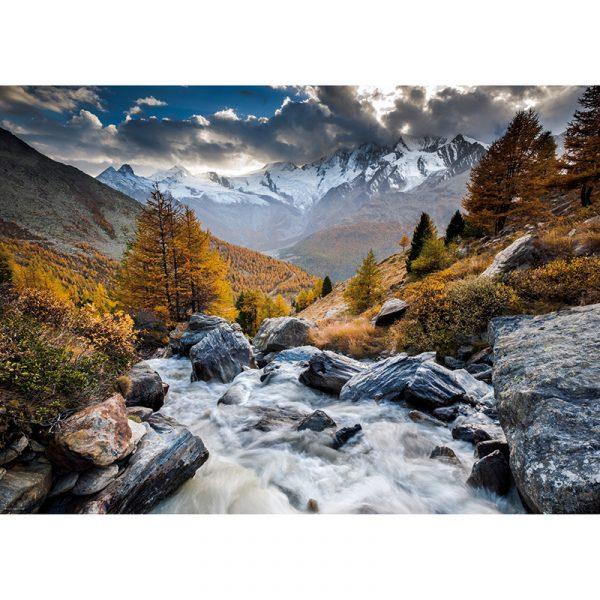 Puslespill Mountain Stream 1000 biter / brikker. Vakkert motiv av fossende elv. Pusslespill fra Heye Puzzle.