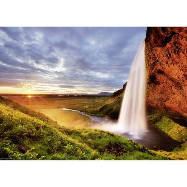 Puslespill Seljalandsfoss Waterfall 1000 biter / brikker. Vakkert motiv med foss. Pusslespill fra Heye Puzzle.