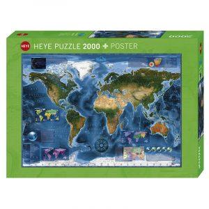 Puslespill Satellite Map, geologisk kart, 2000 brikker