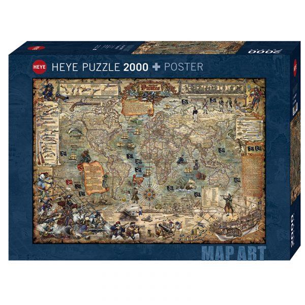 Puslespill Pirate World 2000 biter / brikker. Spillet inneholder også en plakat / poster av samme motiv. Motivet er et verdenskart med mange spennende sjørøver detaljer med vakkert designet og illustrerte vignetter. Pusslespill fra Heye Puzzle. 97 x 69 cm.