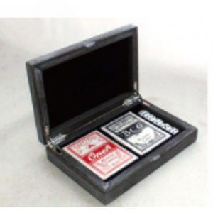Spillekort og terninger i treboks, B-vare