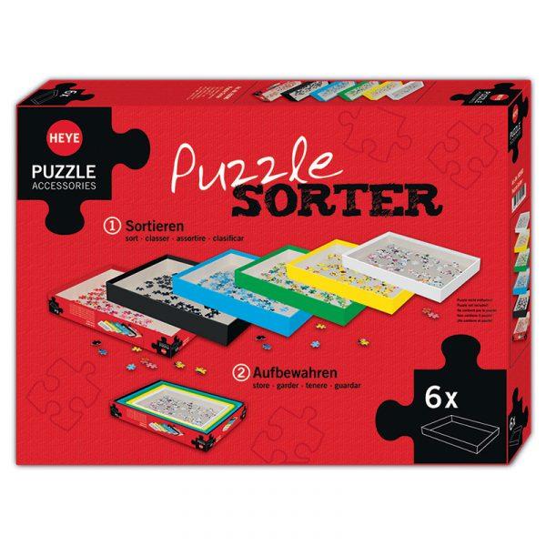 Puslespill sorterer fra Heye puzzle. Praktisk sorterings bokser til puslespillene. 6 bokser i esken. Puzzle Pad. Fra 37 x 27 cm og litt mindre format for hver eske. Sorteringsboks.