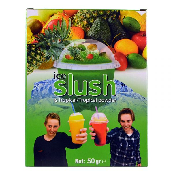 Slush-njoy smak Is Tropical. Porsjonspose med Tropical powder.