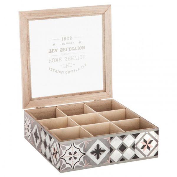 Teboks. Fin te boks med tekst. 9 rom med glass lokk. Mønstret.
