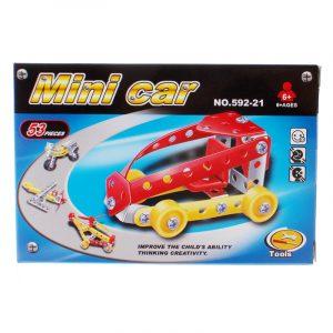 Metallbyggesett minibil, 53 deler