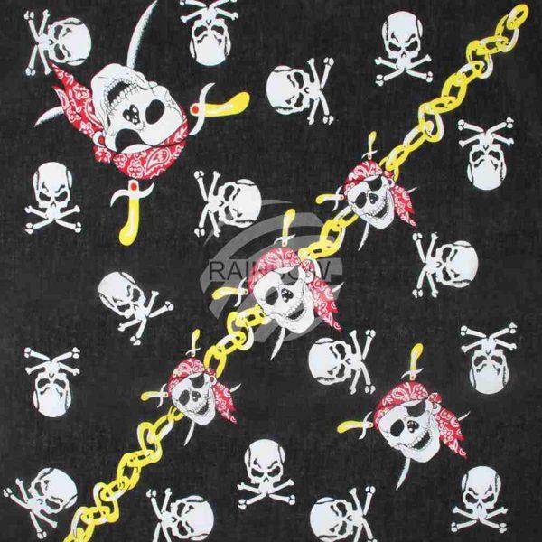 Pirattørkle, bandana, piratskjerf, pirat skulls, sjørøver tørkle med hodeskallemotiv.