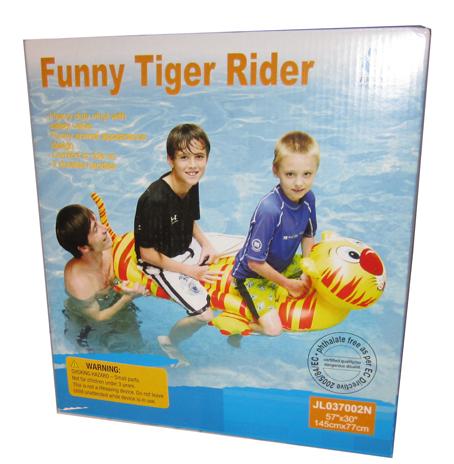 Badeleke Tiger. Morsom vann leke, oppblåsbar. Flyteleke, badedyr.