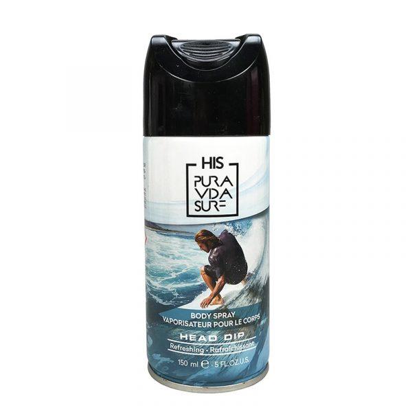 Deodorant og bodyspray til herre. Body spray Head Dip. HIS Pura Vida Surf. 150 ml